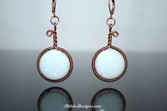 Amazonite handmade copper wire wrapped earrings.