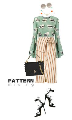 """Pattern mixing"" by frenchfriesblackmg ❤ liked on Polyvore featuring Rosie Assoulin, Dsquared2, ADRIANA DEGREAS, Fendi, Chloé, J.W. Anderson and Alexis Bittar"