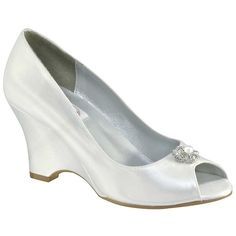 Minka by Dyeables Satin Wedge Wedding Shoes via Polyvore  I think these are one of my favorite.