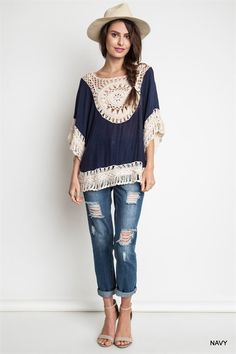 Crochet Tunic - Navy
