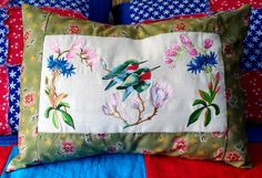 Hummingbird Pillow: embroidered hummingbirds and flowers made into a pillow case that fit a travel size pillow. https://www.facebook.com/LilMonkeysHandmade