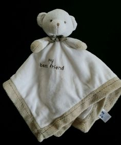 Carters My Best Friend Bear Cream Beige Satin Rattle Lovey Security Blanket read #Carters