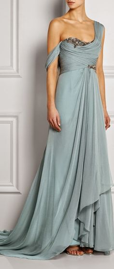 Marchesa Dusty Blue One Shoulder Embellished Silk Georgette Gown.