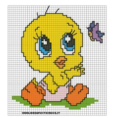 This Pin was discovered by Mfi Cross Stitch Rose, Cross Stitch Baby, Cross Stitch Flowers, Cross Stitch Designs, Cross Stitch Patterns, Cross Stitching, Cross Stitch Embroidery, Tweety, Pixel Art