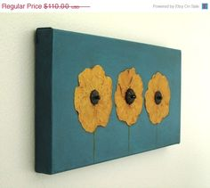 Flower Painting Assemblage - Home Decor Wall Art - Yellow. via Etsy.