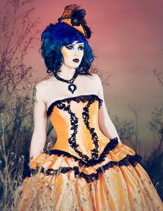 Halloween Dress Cinderella- Pumpkin Orange and Black Gown -Custom to your size. $625.00, via Etsy.