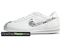 promo code e15bb a7f26 Bandana Fever - Bandana Fever Custom Graphic Nike Cortez Leather White Zen  Grey White