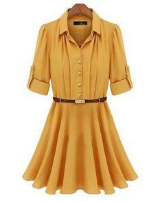 Yellow Half Sleeve Belt Ruffle Dress - Sheinside.com