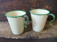 Antique Cream Enamelware Cups Green Rim by TreasuredPrimitives