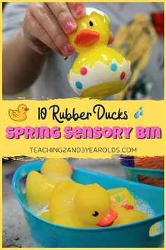 This toddler spring sensory play activity is inspired by Eric Carle's Book, 10 Rubber Ducks. It's a soothing water activity that also builds fine motor skills while using sponges and transporting the ducks in their containers. #spring #water #sensorybin #ericcarle #ducks #waterplay #finemotor #toddler #AGE2 #teaching2and3yearolds Preschool Learning Activities, Spring Activities, Hands On Activities, Literacy Activities, Infant Activities, Sensory Play Recipes, Play Activity, Spring Theme, Farm Theme