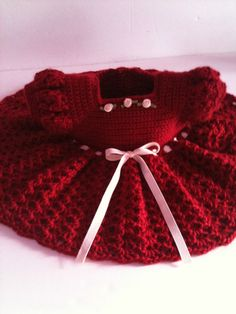 Crochet Baby Dress Infant Red Dress ♥ by GoingCrafty on Etsy