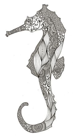 Seahorse drawing by Rachel Russel, UK. Pattern is different on both sides.