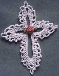 Maggie's Crochet · Lace Cross Free Pattern -S Crochet Bookmark Pattern, Crochet Bookmarks, Crochet Motifs, Crochet Doilies, Crochet Flowers, Crochet Lace, Crochet Patterns, Crochet Stitches, Crochet Ornaments