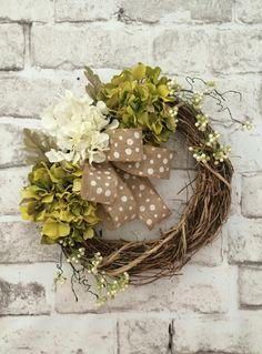 Hydrangea and Burlap Wedding Wreath, Hydrangea Wreath, Burlap Wreath, Summer Wreath, Spring Wreath, Fall Wreath, Neutral Wreath, Front Door Wreath, Grapevine Wreath, Outdoor Wreath, Silk Floral Wreath, Beautiful Wreath, Wreath on Etsy, by Adorabella Wreaths!