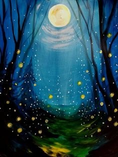 Check out Lost and Found Fireflies at Sidebar 122 - Paint Nite Firefly Painting, Firefly Art, Firefly Drawing, Simple Acrylic Paintings, Watercolor Paintings, Aesthetic Painting, Pastel Art, Moon Art, Landscape Paintings