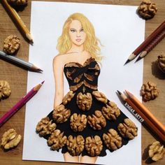 Armenian Fashion Illustrator Creates Stunning Dresses From Everyday Objects Pics) - The crowd will go nuts over this artistic creation. Fashion Design Drawings, Fashion Sketches, Gown Drawing, Moda Streetwear, Arte Fashion, Paper Fashion, 3d Fashion, Creative Artwork, Everyday Objects