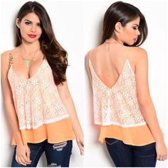 Cute neon orange top Sz large **true color is pic on the hangar  Super cute neon NEON ORANGE summer top  Sz large  Bust 36-38  Lightweight chain straps low cut front and back  NWOT  very nice quality Tops Tank Tops