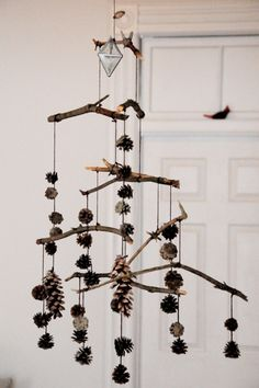 pine cone and branch mobile