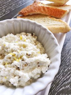 There is so much flavour in this greek and lemon ricotta. Perfect slathered on toasted french bread and eating on the deck. Greek Dip, Greek Seasoning, Fresh Bread, Mediterranean Recipes, Appetizers For Party, Ricotta, Food Print, Lemon, Deck