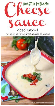Video tutorial for making: Creamy, flavorful, roasted poblano cheese sauce perfect for dipping, dunking, and DRENCHING your food in. Or just eat it with a spoon. Seriously yummy stuff. - Eazy Peazy Mealz