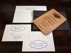 engraved wood invitation set - vineyard