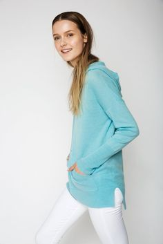 The Hoodie Cashmere Sweater in Pool Blue Cashmere Hoodie, Cashmere Sweaters, Uk Size 16, Hoodies, Denim, Blouse, Summer, Model, How To Wear