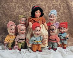All original Snow White and the Seven Dwarves by the Knickerbocker Toy Company, circa 1940. Marked Walt Disney Co. Knickerbocker Toy Co. (body of each Dwarf).