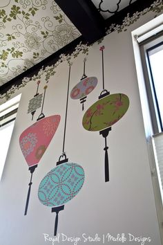 You can stencil these Japanese lanterns! using stencils from the Japanese Collection.