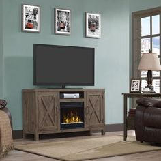 """Show details for Humboldt TV Stand for TVs up to 55"""" with Fireplace"""