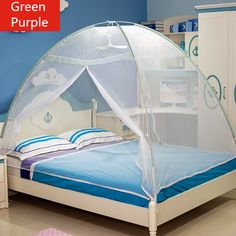 Portable Green Purple Mosquito Net Adult Bed NettingTop Quality Single Double Bed Mosquito Nets for Children Students in Summer & Large Size Mosquito Bed Netting 3 DoorQuadrate Mosquito Net Blue ...