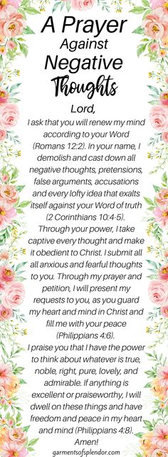 A Prayer Against Negative Thoughts - - Do you need to break a stronghold in your life? Get encouragement through God's Word and break the strongholds that are holding you back from true freedom! Prayer Scriptures, Bible Prayers, Faith Prayer, God Prayer, Power Of Prayer, Prayer Room, Prayer Of Hope, Worry Prayer, Prayers Of Encouragement