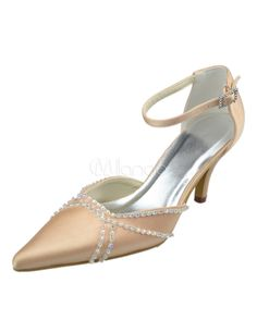 Champagne Ankle Strap Pointed Toe Satin Wedding Shoes - Milanoo.com