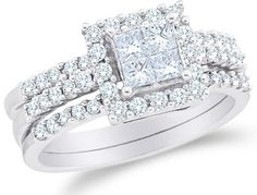 nice 14K White Gold Large Diamond Halo Ladies Bridal Engagement Ring with Matching Wedding Band Two 2 Ring Set - Square Princess Shape Center Setting w/ Invisible Set Princess Cut