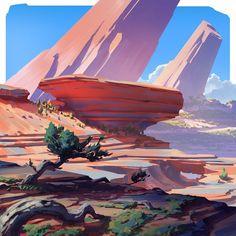 The amazing digital art — Square landscapes 2 by Anton Fadeev Landscape Concept, Fantasy Landscape, Landscape Art, Landscape Paintings, Environment Painting, Environment Design, Desert Environment, Fantasy Kunst, Fantasy Art