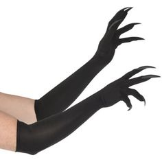 Long Cat Claw Gloves for women come up to the elbow and have long black plastic nails attached to the fingertips. Wear these Long Cat Claw Gloves as part of your black cat costume! Free Tube Videos, Demon Costume, Gargoyle Costume, Bird Costume, Claw Gloves, Black Cat Costumes, Black Claws, Long Cat, Gauntlet Gloves