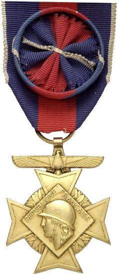 FRANKREICH - Kreuz für freiwilligen Militärdienst [Croix des Services Militaires Volontaires]. Ausgabe für Luftwaffe, Kreuz 1. Klasse, Buntmetall vergoldet,