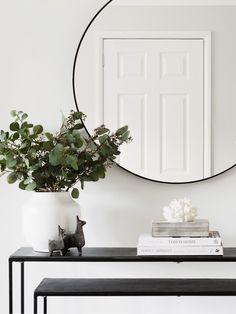 Black Round Mirror - Seconds Black Round Mirror – Hudson Home Hall Mirrors, Entryway Mirror, Living Room Mirrors, My Living Room, Living Room Decor, Entryway Bench, Black Round Mirror, Round Mirrors, Hall