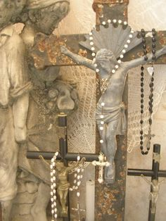Vintage crosses and rosaries