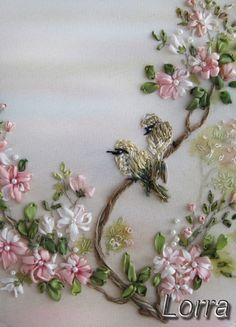 ♒ Enchanting Embroidery ♒  embroidered blooming tree with bird