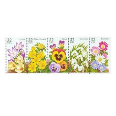 20 Winter Garden Flowers Postage Stamps -  32c - Unused Postage Stamps - Quantity of 20 - Crocus, Winter Aconite, Pansy, Snowdrop, Anemone