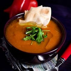 Pumpkin and Red Pepper Vegan Soup by SpicieFoodie  Serve with a side of Rudi's Organic toast!  #organic #healthy #rudis