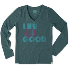Women's Life is Good Stripes Dot Long Sleeve Cool Vee | Life is Good® Official Site
