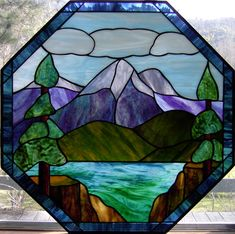Mountain lake scenes: 17 best images about landscape stained glass on pinte Glass Wall Art, Stained Glass Mosaic, Glass Painting, Stained Glass Paint, Glass Design