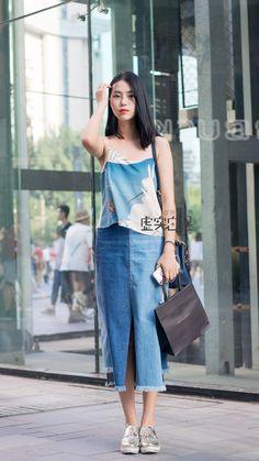 Dalian, Street Snap, Denim Skirts, Pants, Fashion, Jean Skirts, Trouser Pants, Moda, Fashion Styles