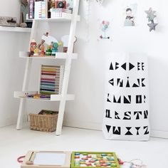 Sac alphabet White Nursery, Girl Nursery, Nursery Decor, Monochrome Bedroom, Ladder Bookcase, Ladder Decor, Shelves, Black And White, Toys
