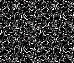 roses black fabric by minimiel on Spoonflower - custom fabric