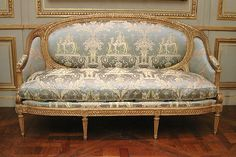Set of furniture Maker: Louis Delanois (French, 1731–1792), ca. 1770, French, Paris, Carved and gilded mahogany, modern silk damask