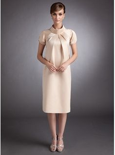eb7dedeb2689 A-Line Princess High Neck Knee-Length Satin Satin Maternity Bridesmaid Dress  With