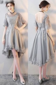 Elegant Grey Lace Homecoming Party Dress with Lace Sleeves at - Evening Dresses and Fashion Trendy Dresses, Short Dresses, Fashion Dresses, Formal Dresses, Lace Party Dresses, Lace Dress, Evening Dresses, Mini Dresses, Dress Brokat
