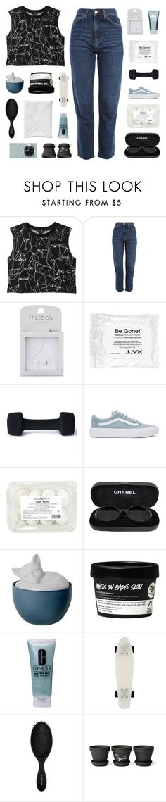 """""""grass stains all on my blue jeans"""" by darkdiamonds-1 ❤ liked on Polyvore featuring Monki, Topshop, Origins, adidas, Vans, Chanel, Imm Living, Clinique, Sephora Collection and Samsung"""